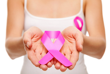 Woman Holding Pink Breast Cancer Awareness Ribbon