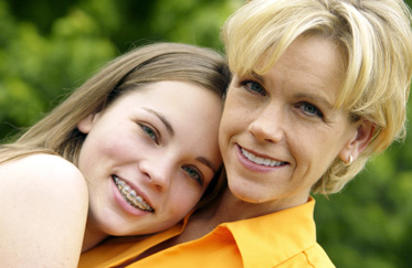Adolescent Teenage Girl with Mom